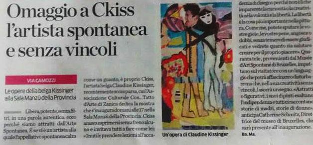 L'Eco di Bergamo  – Omaggio a Ckiss l'artista spontanea e senza vincoli