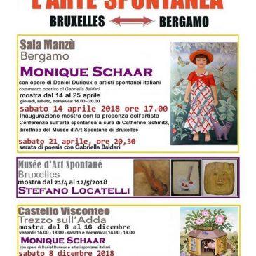 """Inaugurazione mostra e Convegno:  """"Monique Schaar: un volto dell'Arte Spontanea"""": Sabato 14 aprile 2018 – ore 17.00 – Sala Manzù – BERGAMO"""