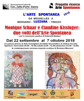 """Due volti dell'Arte Spontanea – """"L'Arte Spontanea da Bruxelles a Luzzana"""" – Da Sabato 22 settembre a Domenica 7 ottobre 2018"""